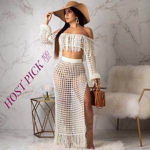 Beach Cover Up Crochet Knit Fringes Maxi Skirt Set